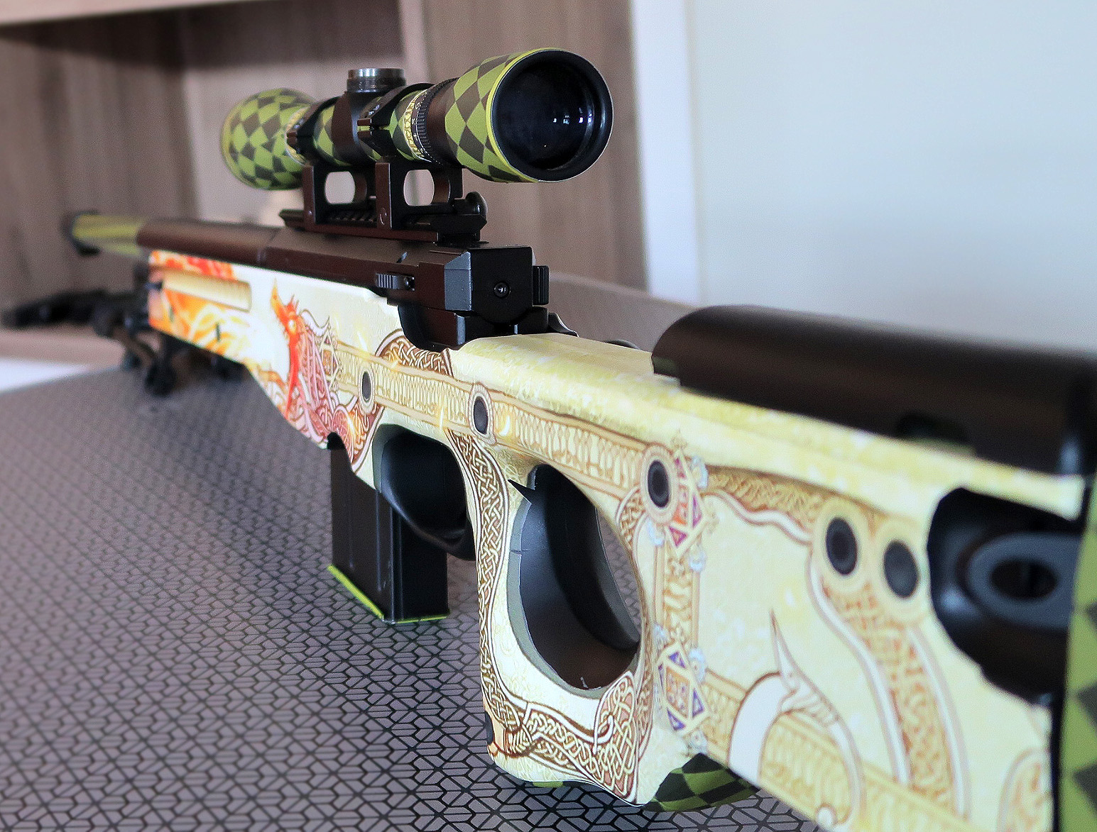 Awp dragon lore vinyl decal for l96 airsoft models silo for Salon de l airsoft